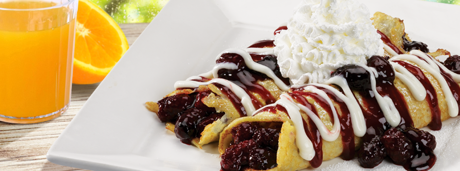 Featured Entrée: Blackberry Crepes with Raspberry Sauce